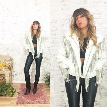 Vintage 1970's WHITE Fringe Gypsy Leather Moto Biker Hippie Jacket With Conchos || Motorcycle Jacket || Size Small Medium