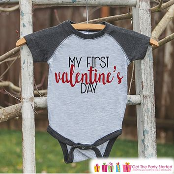 Baby Valentines Outfit - My First Valentine's Day Shirt or Onepiece - Boy or Girl Valentine Shirt - Kids, Baby, Toddler, Youth - Grey Raglan