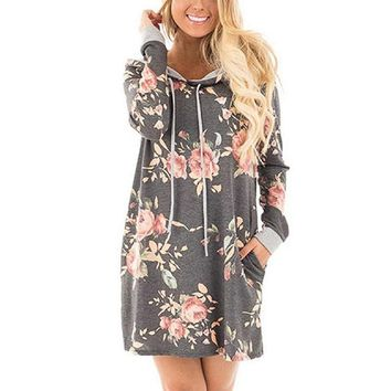 Floral, Hoodie Dress ( with pockets)