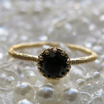 black gold ring, gold ring, thin gold ring, crystal druzy ring, stacking rings, sparkly black ring, cocktail ring, bridesmaid gift