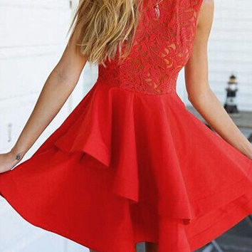 Red Sheer Sleeveelss Lace Layered Skater Dress