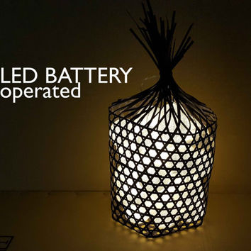 handmade black rattan Basket with Led battery with white cotton ball string light cotton ball for decoration on table