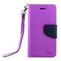 iPhone Diary Flip Leather Wallet Case w Stand and Strap (Purple Blue)