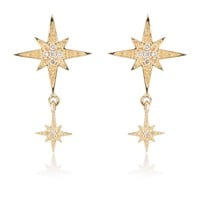 Starburst earrings in 14kt gold with diamonds