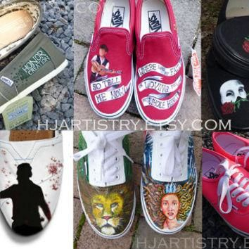 Custom Painted Shoes: Vans Authentic, Vans Slip-on, Toms, Converse. Design your own.