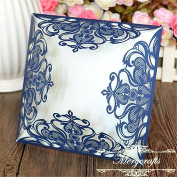 Popular laser cut elegant navy blue lace pocket fold wedding invitation card