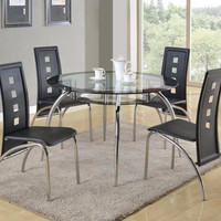 Dining Table Set 5pc Metal and Glass