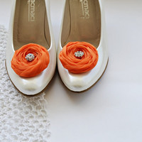 Orange Chiffon Roses Shoe Clips