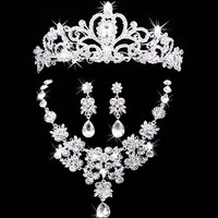 bridal jewelry crown necklace and earring Tiara Rhinestone Wedding Accessories Bridal crystal jewelry