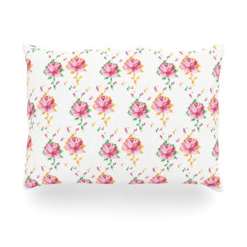 "Laura Escalante ""Cross Stitch Flowers"" White Pink Oblong Pillow"