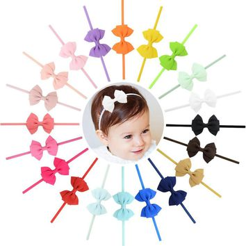 "20pcs/Lot 4"" Inch Grosgrain Headdress Solid Hair Bow Bands Headbands Accessories Hairband Flower Solid Color for Baby Girl Toddlers Kids Children"