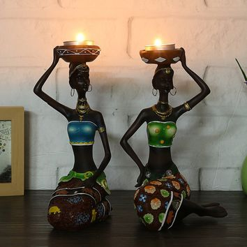2pcs African Women Resin Statue Candlestick Beauty Lady Decorative Statue Resin Figurine Craft Candlestick for Living room,Bedro