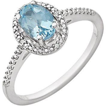 Sterling Silver Oval Sky Blue Topaz & .01 CTW Diamond Halo-Style Ring