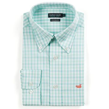 Cameron Gingham Performance Button Button Down in Antigua Blue & White by Southern Marsh