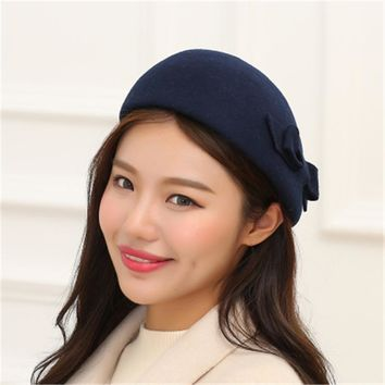 Winter Hat for Women British hat Warm retro Wool Beret Winter Cap Ladies Beanies Church Hats Cloche Bonnet Femme Fedoras bowknot