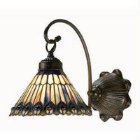 8 Inch W Tiffany Jeweled Peacock 1 Lt Sconce Wall Sconces