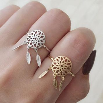Feather Ring Hollow Out Silver Dream Catcher [11312730708]