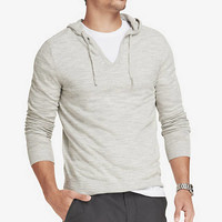 HOODED V-NECK SLUB KNIT SWEATER from EXPRESS