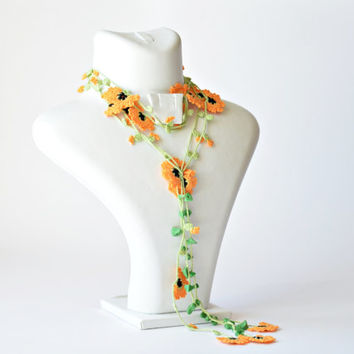 Crochet Lariat Necklace Oya Orange Flowers Beadwork Necklace Beaded Lariat Jewellery, Beadwork, ReddApple, Gift Ideas for Her