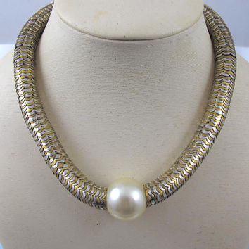 Yves Saint Laurent Collar Necklace, 1980s YSL Silver Gold Snake Link Pearl Necklace, Haute Couture, YSL Runway Designer Jewelry REDUCED