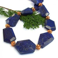 Chunky Lapis Lazuli Gemstone Necklace, Blue Copper Artisan Handmade Statement Jewelry