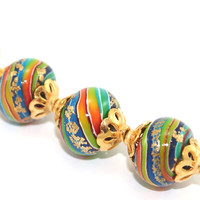 5 colorful Polymer Clay beads, round pressed stripes beads, elegant beads for Jewelry Making, rondelle beads in rainbow colors with gold