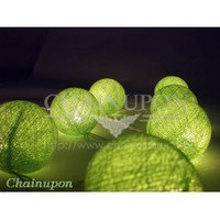 Green Cotton Balls String Lights
