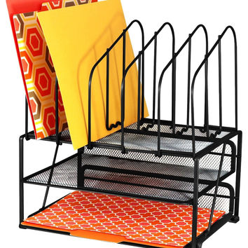 DecoBros Mesh Desk Organizer with Double Tray and 5 Upright Sections Black