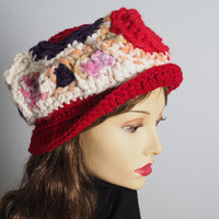 White purple pink & red cloche hat, Ready to ship, OOAK multicolor bucket hat, Fashion crochet hat, Handmade warm winter hat, Teen girl hat