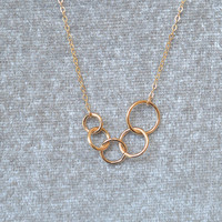 circles necklace,Layered Necklaces,Personalized Delicate 14k Gold Filled Necklace,bff necklace