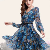 Blue Vintage Floral Print V-Neck Chiffon Dress