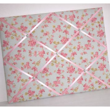 Cherry Blossoms on Light Blue background fabric Memo Board