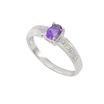Sterling Silver .01ct Genuine Diamond Ring with 6x4mm Amethyst Stone