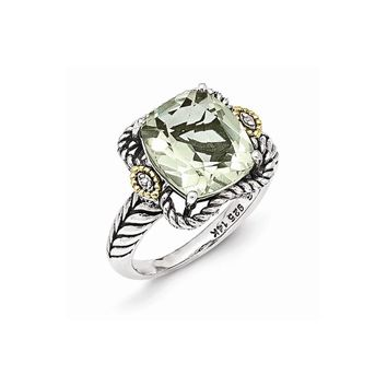 Sterling Silver w/14k Gold Antiqued Green Amethyst and Diamond Ring