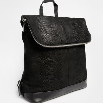 ASOS Leather Embossed Backpack