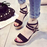 Fashion Women Sandals Platform Wedges Sandals For Women Sandal Wedding Shoes Womans Pumps Ankle Strap Wedges Shoes 2017