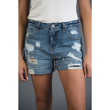 By Together Distressed Denim Shorts