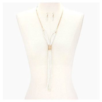 Boho Matte Gold & Clear Tied Glass Bead Strand Long Tassel Necklace