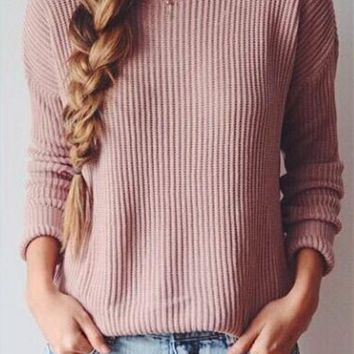 Long sleeved loose sweater-1