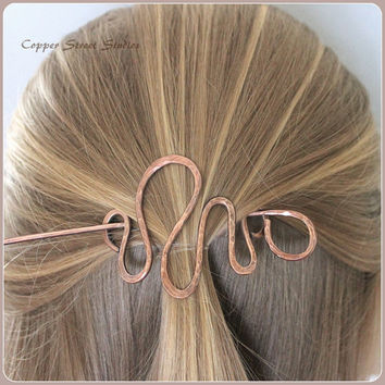 Hair Barrette, Women, Squiggle, Copper Hair Barrette, Copper Hair Clip, Hair Pin Copper, Bun Pin Copper, Hair Accessories, Handmade, Metal