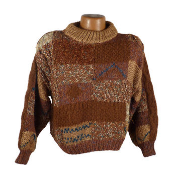 Nordstrom Knit Sweater Vintage 1970s Wool italy Oversize Chunky Mohair Cropped Women's