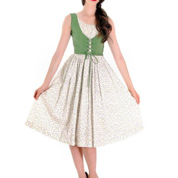 Adorable Fairy Kei Vintage 1950s Cotton Dress Print Green W Lace Up Corset Bea Butler S 33-22-Free