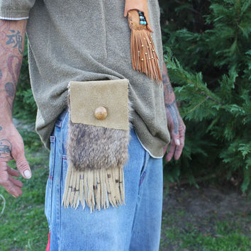 Golden Beige Buffalo Leather Belt Bag with Natural Rabbit Fur, Single Pouch Hip Bag, Fringed and Beaded