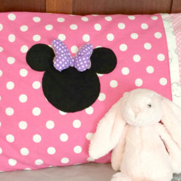 Interchangeable Minnie Mouse Stuffed Bow Pillow Pillowcase with Pink Polka Dots