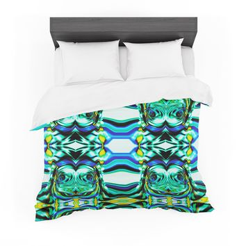 """Dawid Roc """"Inspired By Psychedelic Art 5"""" Blue Abstract Featherweight Duvet Cover"""