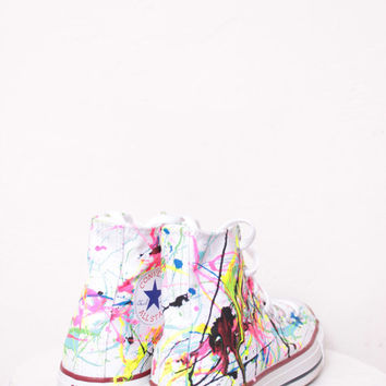 Adult White High Top Splatter Painted Converse Sneakers Adult Size 4, Neon Lights Colors