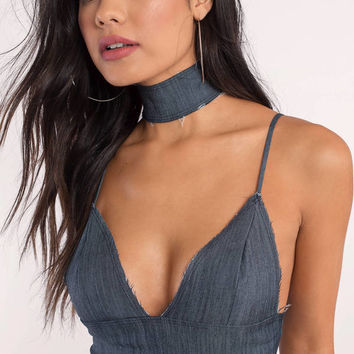 Show It Off Denim Choker Crop Top