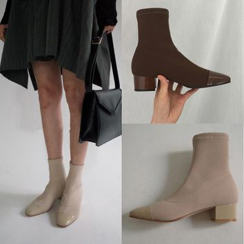 Fashion Ankle Elastic Sock Boots Chunky Med Heels Stretch Women Autumn Kardashian Sexy Booties square Toe Women Pump