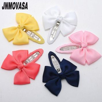 2pcs/lot Solid Grosgrain Bows Toddler Baby Girls Hair Snap Clips Hairpins Children Accessories Assorted Colors Free Shipping