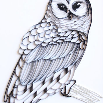 The Barred Owl - Unique Paper Quilled Wall Art for Home Decor(paper quilling handcrafted art piece made with love by artist in California)